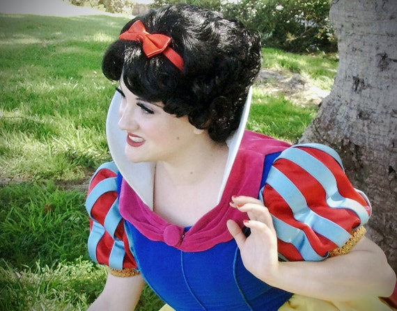 READY to SHIP Snow White Wig Flapper Betty Boop Adult Costume Wig short black finger wave with red bow. A True Enchantment Original
