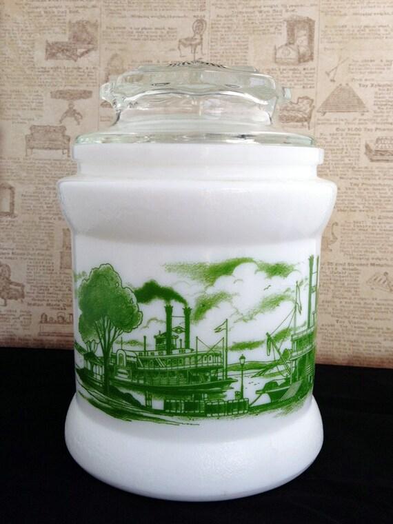 Vintage Steam Boat Delta Apothecary Jar  / Tobacco Jar /   Beautiful!!