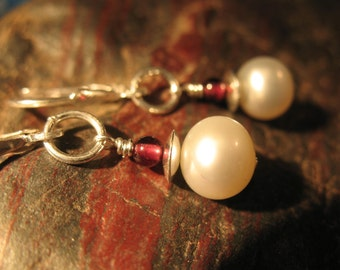 White Pearl and Garnet Earrings