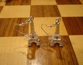 Sterling Silver Eiffel Tower French Hook Earrings