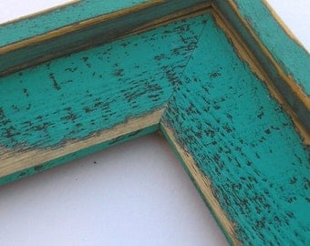 8x10 OR 8x8 OR 8.5x11 photo picture frame Colored Barnwood Style Teal with outside cap Rustic Western 3 inches wide wood