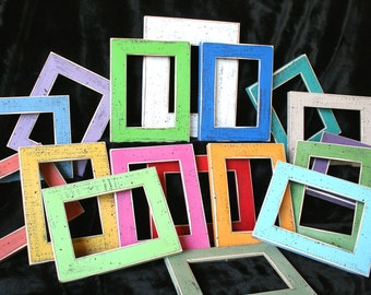 Colored picture frames 6) 8x8 or 8x10 picture frames Style (You Choose From 63 Colors) picture frame package