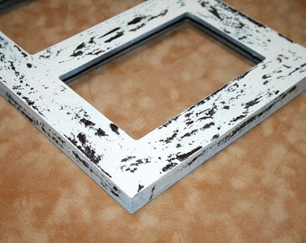 """Multi opening Picture Frame 5) 5x7, 4x6 or 5x5 Collage multiple opening photo picture frame """"Cape Cod"""" distressed Multi opening frame"""