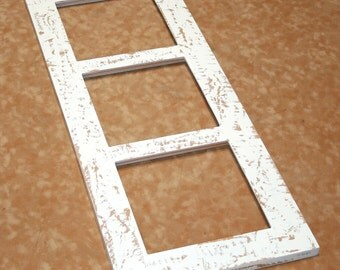 """Picture frame multi opening 3) 8x8 or 8x10 Multiple opening Picture Frame collage Chipped """"Cape Cod"""" or """"Shabby Cottage"""""""