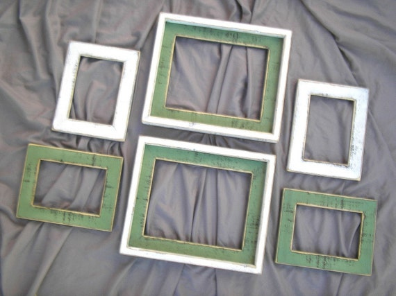 "Picture frame  Package 6) picture frames total (You CHOOSE the COLORS from 63 Colors) in our ""Colored Barnwood"" style"