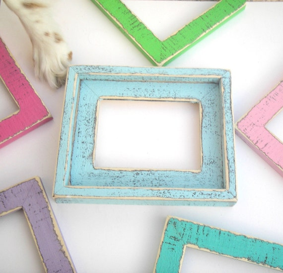 """2) 4x6 OR 5x5 OR 5x7 in our """"Colored Barnwood"""" 2"""" wide with outside cap  Photo Picture Frames (You CHOOSE from 28 Colors)"""