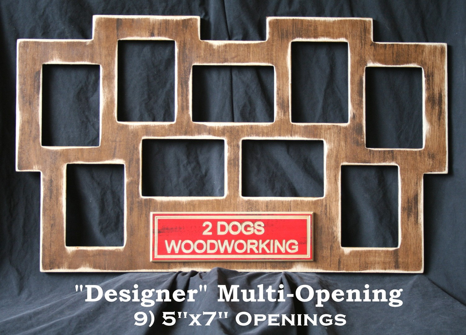 multi opening picture frame 9 5x7 collage by 2dogswoodworking. Black Bedroom Furniture Sets. Home Design Ideas