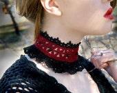 Duchess Noir Beaded Lace Collar Choker Red Black