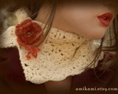 Rustic Rose Crocheted Neck Cowl