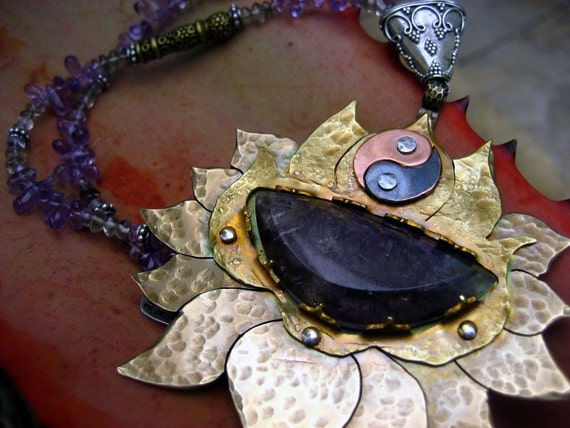 Crown Chakra Necklace, Super Seven Crystal, Golden Lotus, Yin Yang Symbol, Made to ORDER