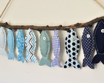 Custom Nine Blue Hanging Fish - Nursery Wall Decor - Child's Room Fish Art