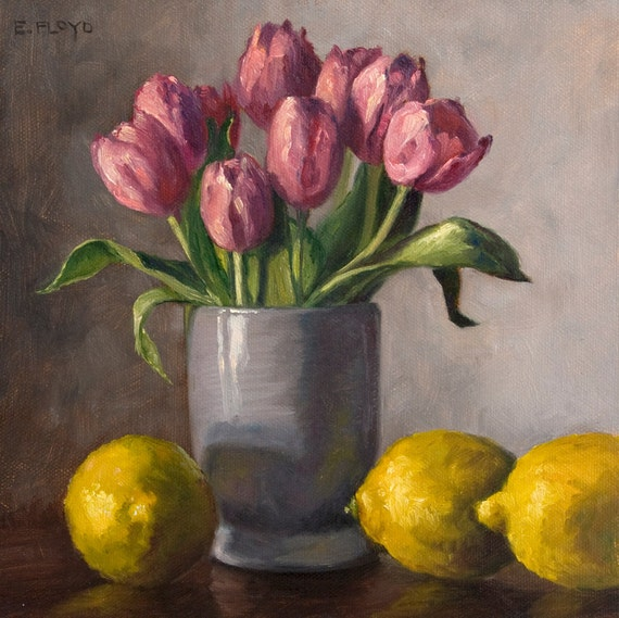 Original Oil Painting - Still Life with Tulips and Lemons - Elizabeth Floyd - 8 x 8 inches