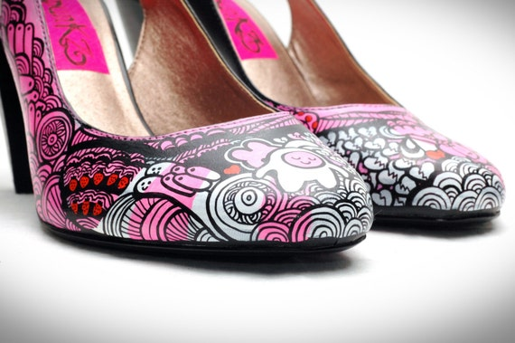 Infatuation Hand Painted Shoes Sz. 8