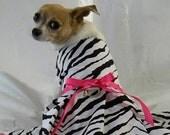 Zebra dress with hot pink accents 5 sizes xxxsmall to medium larger sizes custom