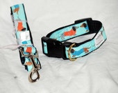 "The Bue Dachshund collar  and Leash set  collar is 1"" wide webbing "" leash 60"" length"