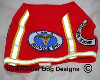 Red Service Vest Medical Alert Dog Reflective Tape and Snap Lock custom sizes