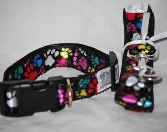 """TheNeon Paws collar  and Leash set  collar is 1"""" wide webbing """" leash 60"""" length"""