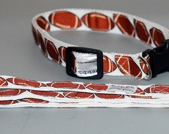 "Football  Print collar  and Leash set  collar is 1"" wide webbing "" leash 60"" length"