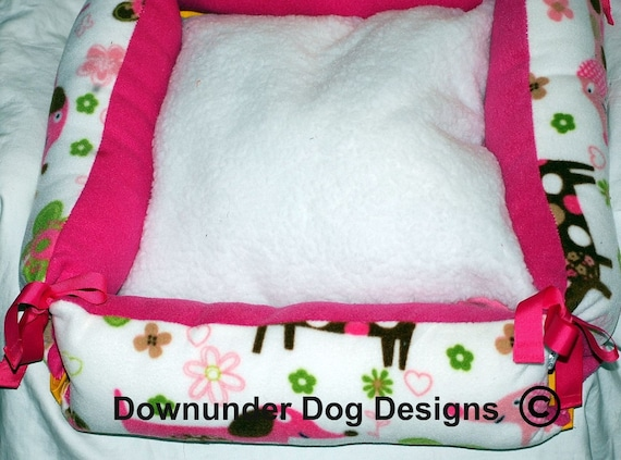 Pink Dachshund Bed PVC waterproof bottom 20 by 20 inch