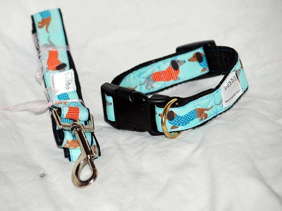 """The Bue Dachshund collar  and Leash set  collar is 1"""" wide webbing """" leash 60"""" length"""