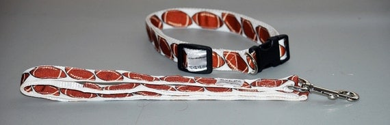 "Football  Print collar  and Leash set  collar is 1"" wide webbing "" leash 60"" length"