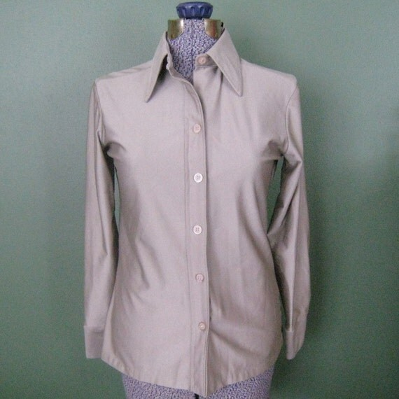 Vintage Long Sleeve Shirt - Laura Mae, Silver Grey, 1970s
