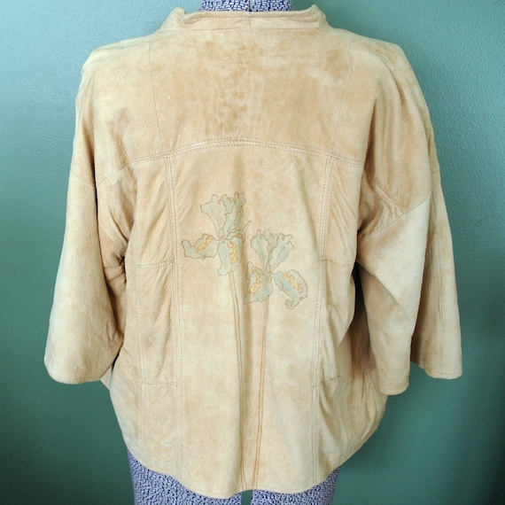 RESERVED Vintage Leather Jacket with Hand Colored Iris Design by Joan Lober - 1970's