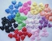 CLEARANCE 20 padded satin polka dot heart appliques embellishments EM-66
