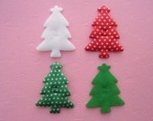 8 paddd Christmas tree appliques EM-216 for hair clips, scrapbooking, card making and more