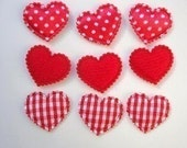 12 padded satin polka dot, solid red felt and red gingham check heart appliques embellishments great for Valentines day, hair clips EM-89