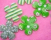 12 padded flower appliques embellishments green mix EM-111