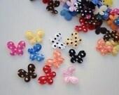 30 Mini Satin Polka Dots Butterfly Appliques embellishments EM-15