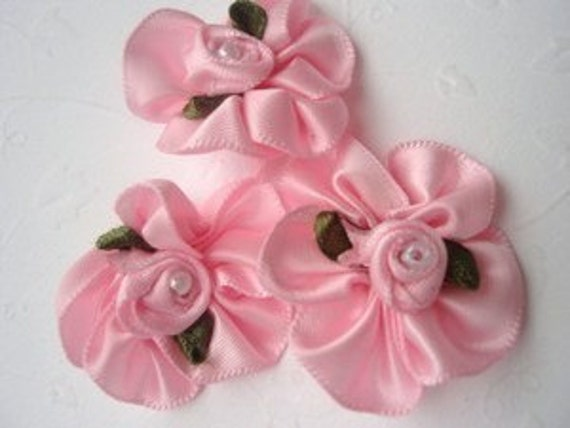 10 pink ruffle satin ribbon roses with pearl centers applique embellishments EM-82 for hair bows, hair clips, scrapbooking, headbands