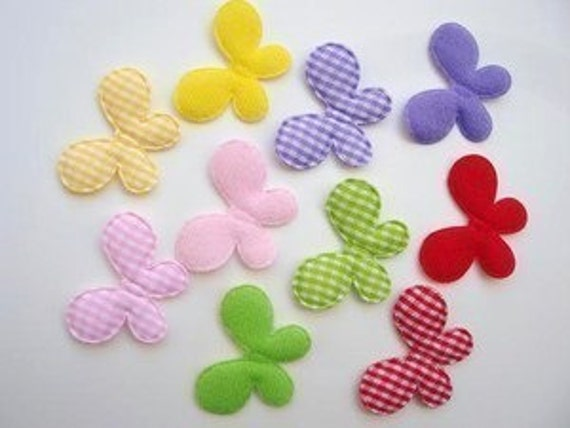 10 padded gingham felt and fabric butterfly appliques embellishments EM-63
