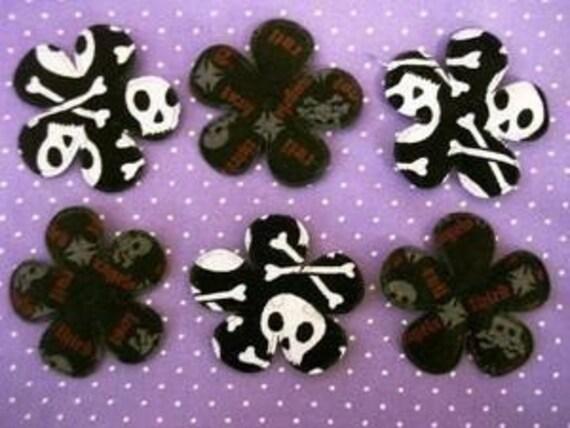 LAST SET 8 padded skull flowers steam punk rock n roll appliques embellishments EM-138