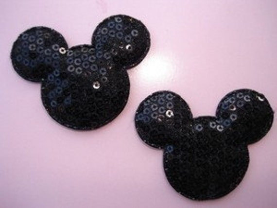 4 sequin padded Mouse head appliques embellishments Mickey EM-03