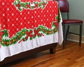 Vintage Christmas Tablecloth 60 by 80 Tastemaker by Stevens