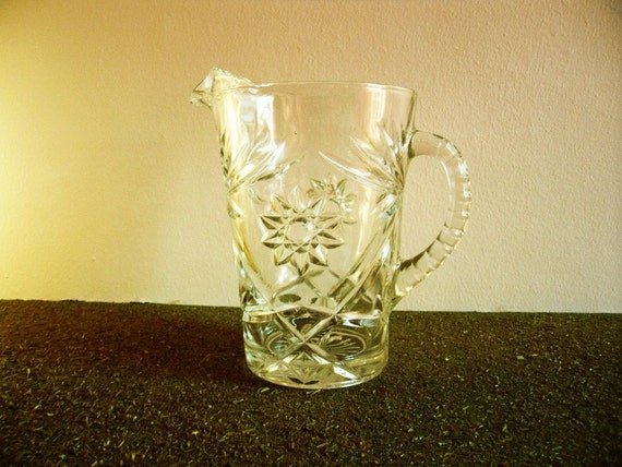 Vintage starburst glass pitcher vintage barware - Starburst glassware ...