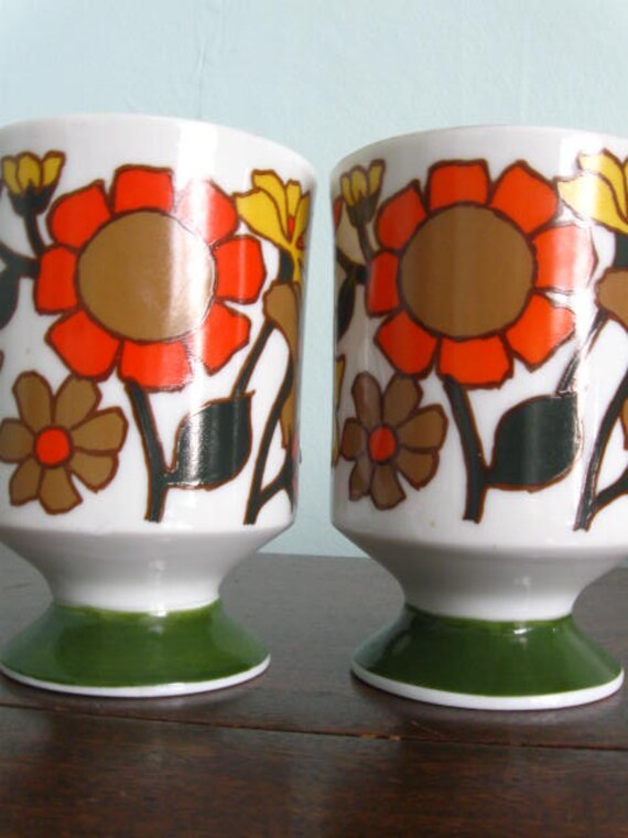 Set of Two Mod Floral Mugs