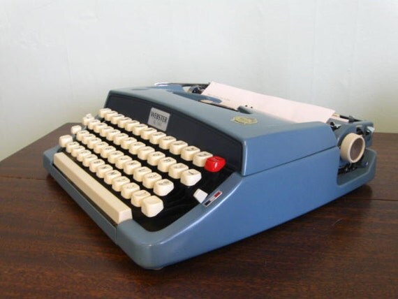 1960s Webster XL 500 Sky Blue Typewriter Portable with Case