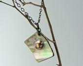 Square pearl pendant