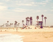 Beachy, beach print, california, sunshine state, photo, yellow sand, sky blue, palm tree, ocean, fine art photograph