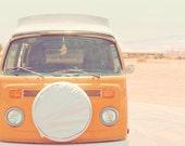Orange, Volkswagen van, Volkswagon, vintage road trip, pastel, desert art, utah, pink, blue, white, colorful, fine art photograph