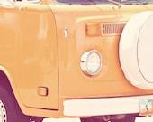 Orange Volkswagon Bus, slug bug, vintage road trip, bright, colorful, adventure, memories, retro, wash, fine art photograph