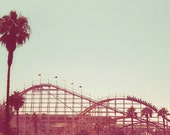 San Diego roller coaster, vintage antique amusement, polaroid style, the big dipper, Mission Beach, California, fine art photograph