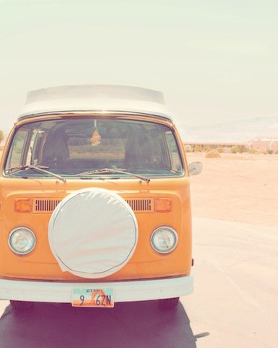 Orange, Volkswagen van, Volkswagon, vintage road trip, pastel, desert art, utah, pink, blue, white, colorful, fine art photograph