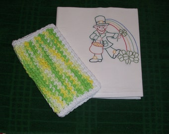 hand embroidered flour sack dishtowel and dishcloth