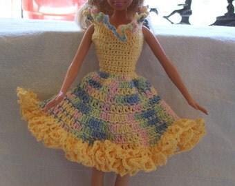 "Hand Crocheted BARBIE Doll ""SUMMER FUN"" Dress"