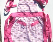 Girls Red and Pink Hearts Bib Full Apron Size Small (Ages 2-4)