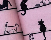 Carefree Cats in Pink and Black Cotton  -   EK-QS29519C